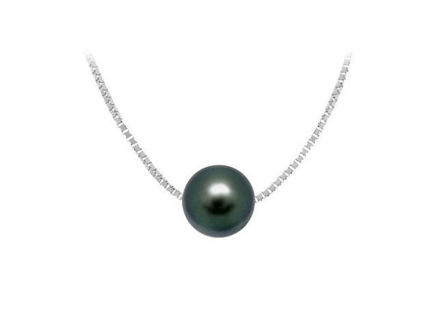 Cultured  Black Akoya Pearl Pendant  14K white gold - 9 MM