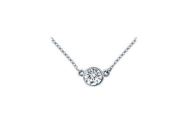 Platinum  Bezel Set Round Diamond Solitaire Pendant - 1.00 CT. TW.