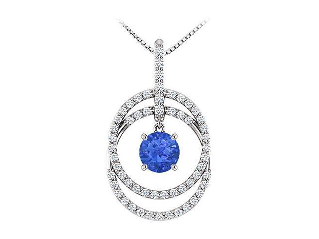 September Birthstone Sapphire and CZ Double Row Circle Pendant 14K White Gold 1.75 CT TGW