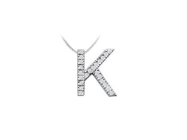 Classic K Initial Diamond Pendant  14K White Gold - 0.35 CT Diamonds