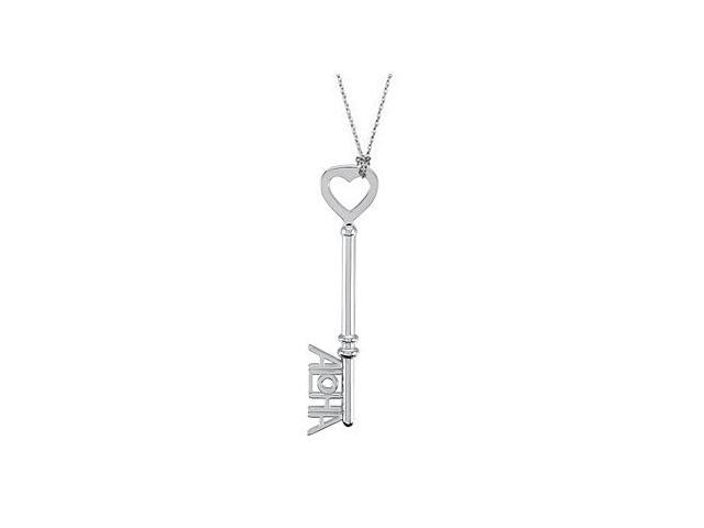 Aloha is the Key Pendant in .925 Sterling Silver Rhodium Plating 1.5 Inch Long Key