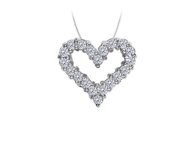 April birthstone Diamond Heart Pendant in 14K White Gold 0.50 CT TDW