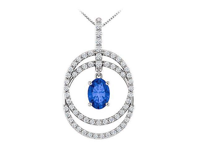 September Birthstone Oval Sapphire and CZ Double Row Circle Pendant 14K White Gold 1.75 CT TGW