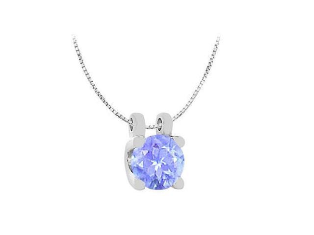 Created Tanzanite Solitaire Pendant in White Gold 14K One Carat Total Weight