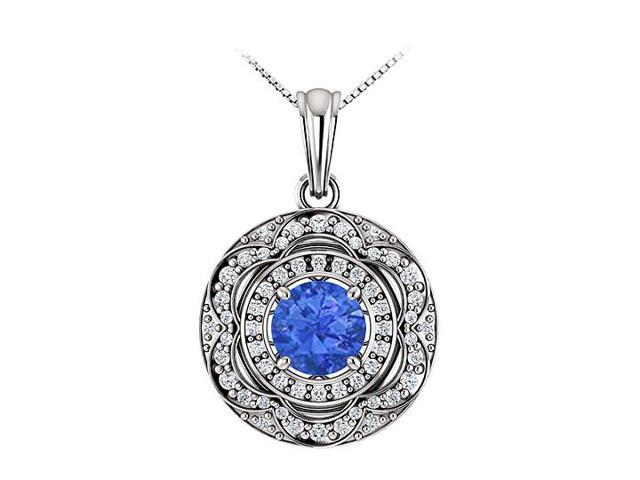 September Birthstone Sapphire and CZ Halo Pendant in 14K White Gold 1.50 CT TGW
