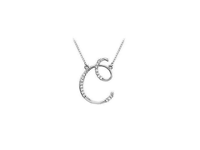 Cubic Zirconia Letter C Script Initial Pendant  .925 Sterling Silver - 0.10 CT TGW