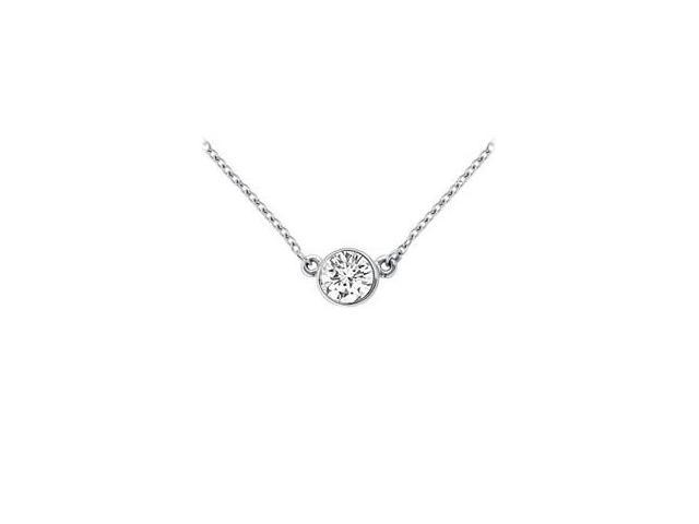 14K White Gold  Bezel Set Round Diamond Solitaire Pendant - 0.25 CT. TW.