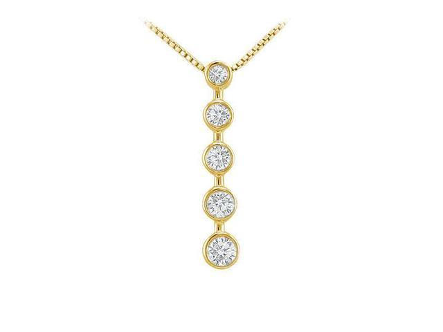 Bezel Diamond Journey Pendant  14K Yellow Gold - 0.50 CT Diamonds