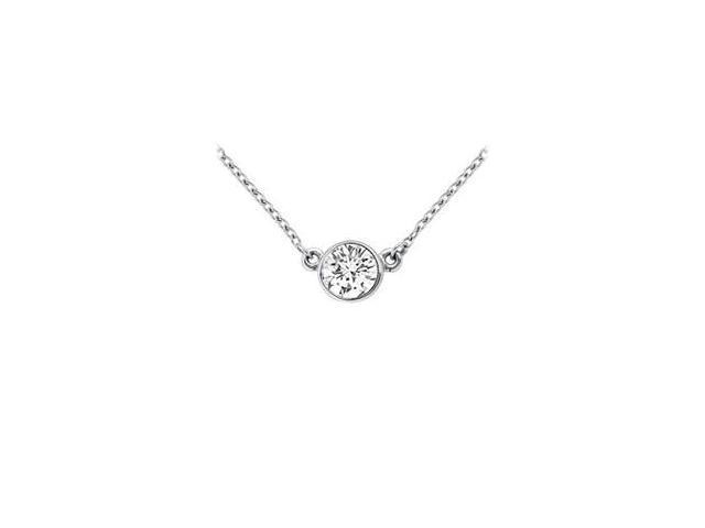 14K White Gold  Bezel Set Round Diamond Solitaire Pendant - 0.33 CT. TW.
