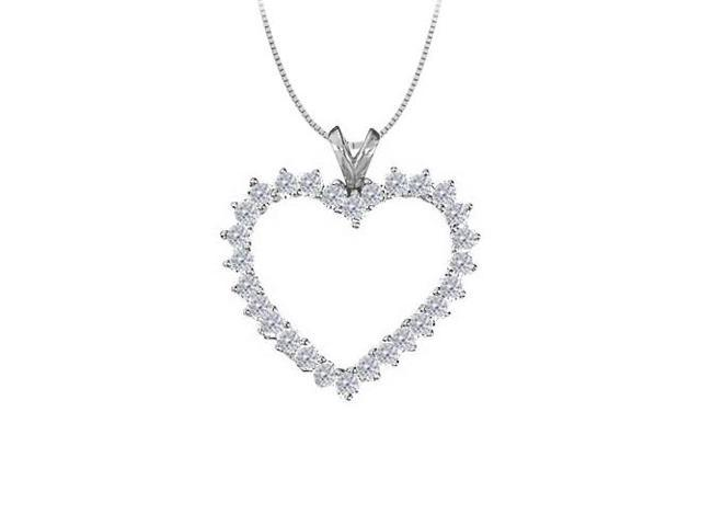 April birthstone Cubic Zirconia Heart Pendant in Sterling Silver 2.00 CT TGW