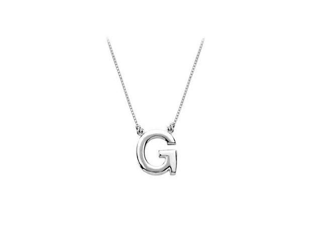 Sterling Silver Baby Charm G Block Initial Pendant