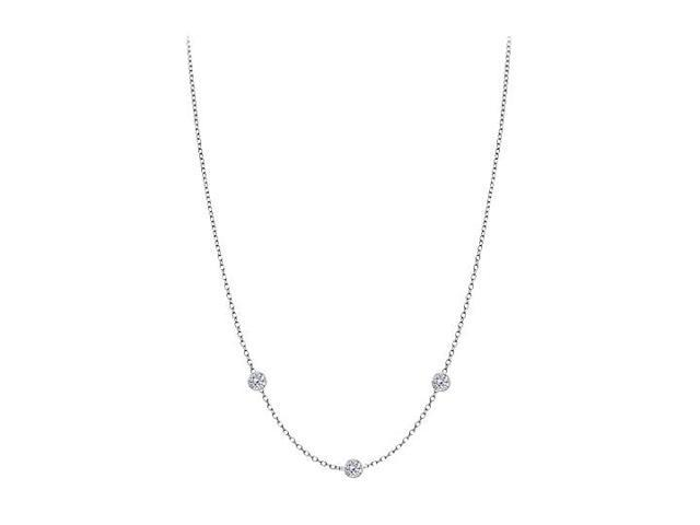 Diamonds By The Yard Necklace in 14K White Gold Bezel Set 0.15 ct.tw