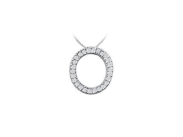 Classic O Initial Diamond Pendant  14K White Gold - 0.40 CT Diamonds