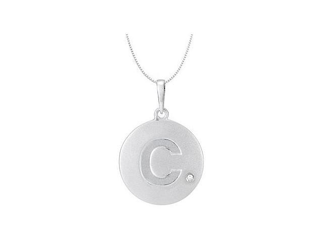 Block Initial C in .925 Sterling Silver Rhodium Plating Disc Pendant with CZ