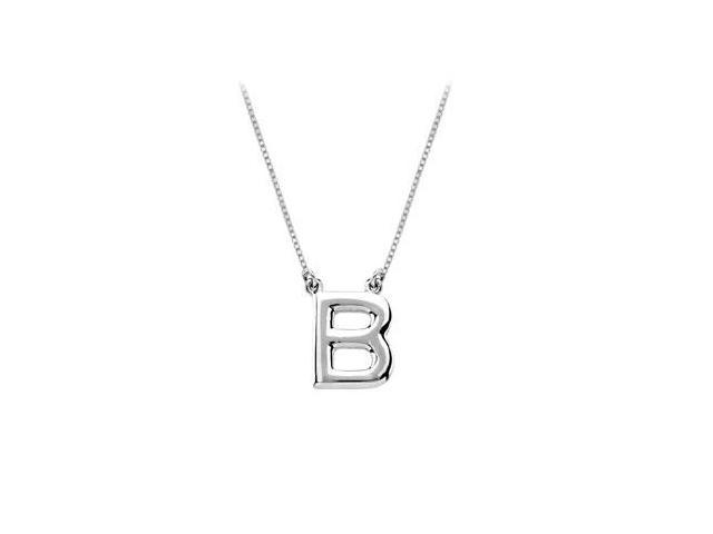 Baby Charm Initial Pendant B 14K White Gold