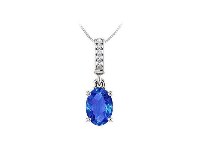 September Birthstone Created Sapphire Pendant with CZ in 14kt White Gold 1.05 CT TGW