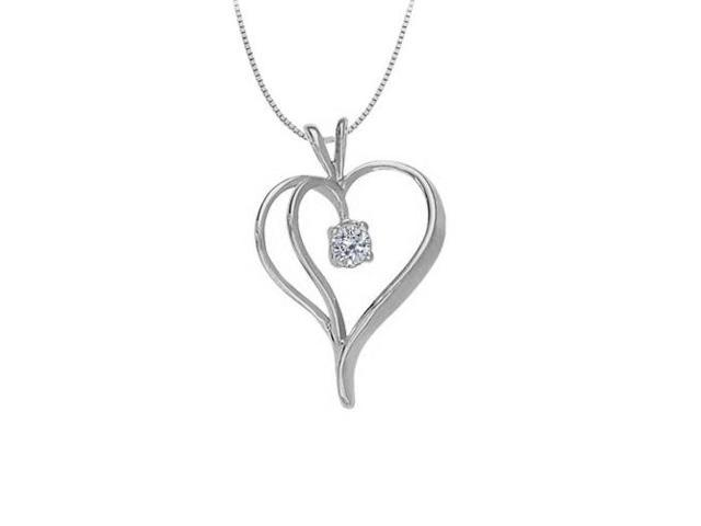 April Birthstone Cubic Zirconia Heart Pendant in Sterling Silver 0.33 CT TGW