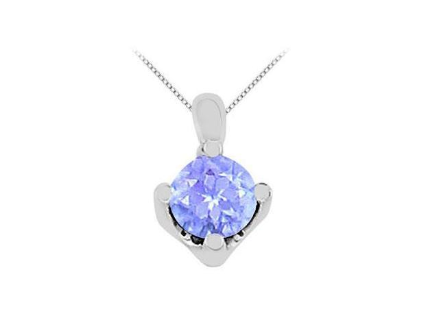 Round Big Created Tanzanite Solitaire Pendant in 14K White Gold 1 Carat Gem Weight