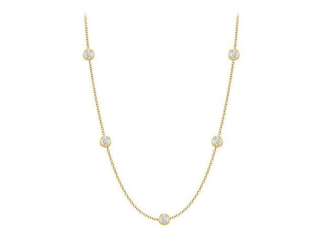 Diamonds By The Yard Necklace in 14K Yellow Gold Bezel Set 0.10 ct.tw