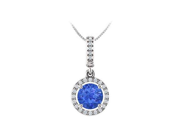 September Birthstone Sapphire and CZ Halo Gemstone Pendant 14K White Gold 1.25 CT TGW