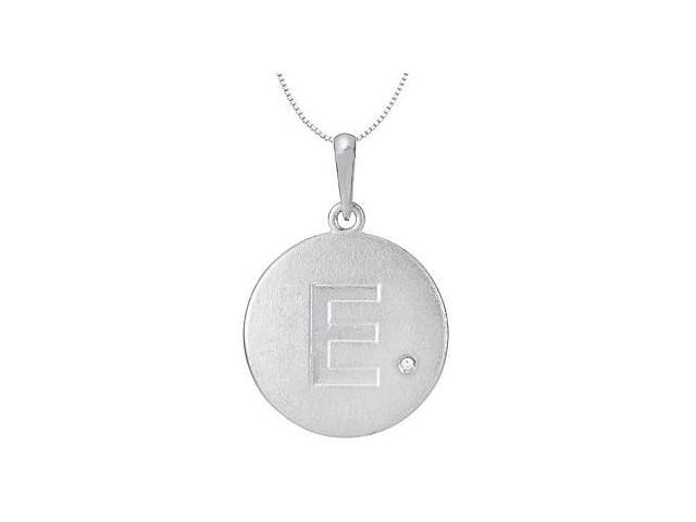 Initial Pendant Block Letter E with CZ Disc in Rhodium Plating .925 Sterling Silver Necklace