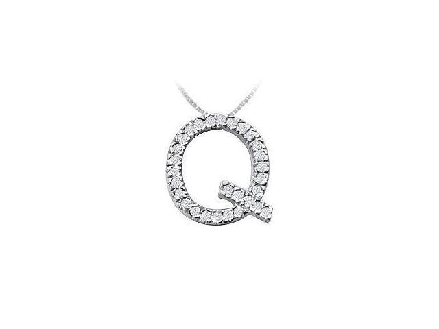 Classic Q Initial Diamond Pendant  14K White Gold - 0.45 CT Diamonds