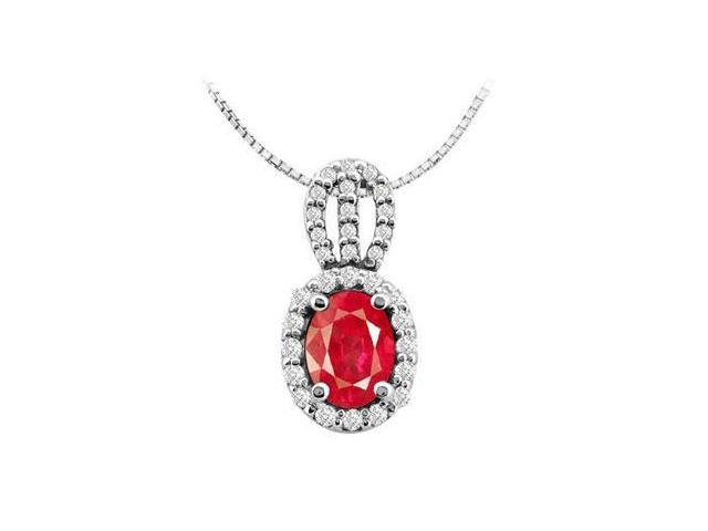 Four Carat GF Bangkok Ruby Oval and Round Cubic Zirconia Fashion Pendant in White Gold 14K