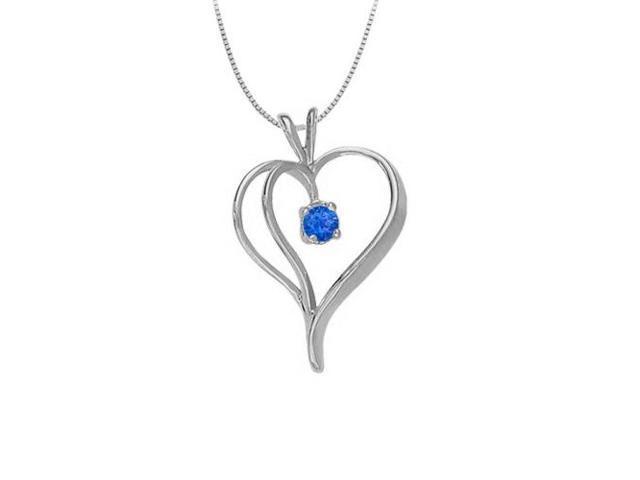 September Birthstone Sapphire Heart Pendant in 14kt White Gold  0.33 CT TGW