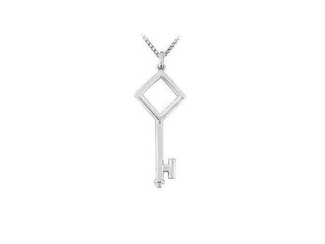 14K White Gold Key Pendant