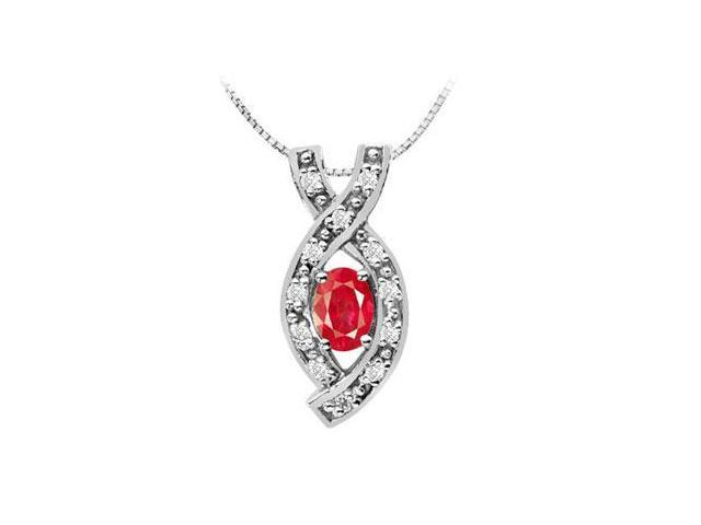 Oval GF Bangkok Ruby Pendant with CZ in 14K White Gold One Half Carat Total Gem Weight