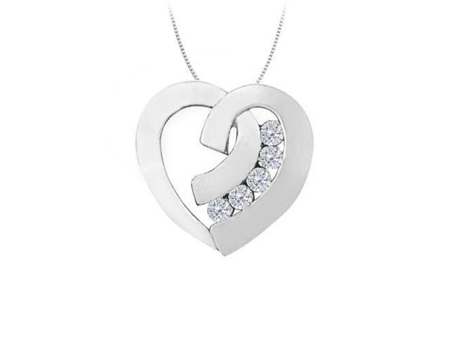 April birthstone Channel Set Diamond Heart Pendant in 14K White Gold 0.40 CT TDW