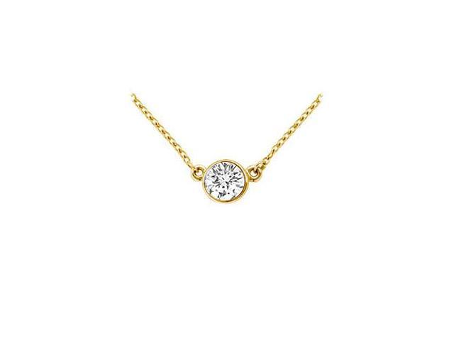 14K Yellow Gold  Bezel Set Round Diamond Solitaire Pendant - 0.50 CT. TW.