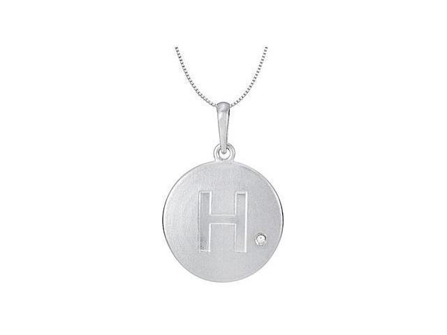 Cubic Zirconia Block Initial H in .925 Sterling Silver Rhodium Plating Disc Pendant