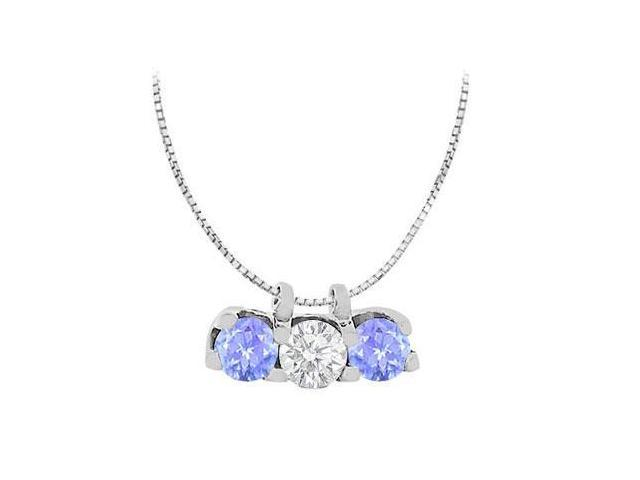 Three Stone Pendant of Created Tanzanite and Cubic Zirconia in 14K White Gold Necklace 1.50 Cara