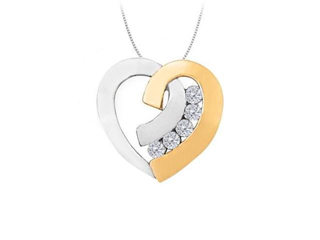 April birthstone Two Tone Channel Set Diamond Heart Pendant in 14K Gold 0.40 CT TDW