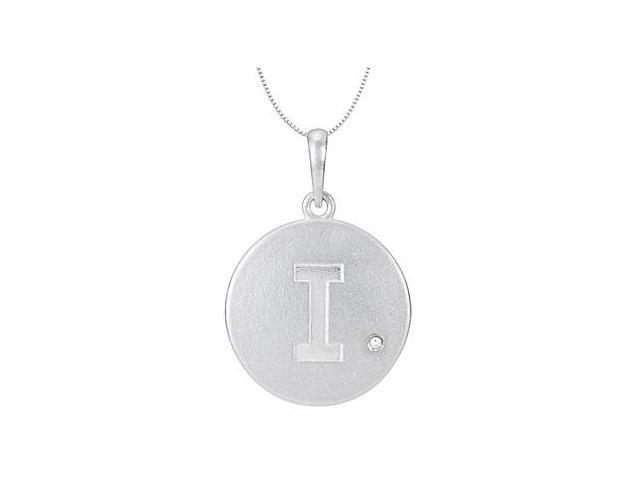 Sterling Silver .925 Rhodium Plating Block Initial I  Disc Pendant with Single Round CZ