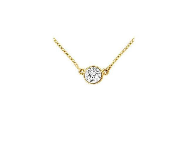 14K Yellow Gold  Bezel Set Round Diamond Solitaire Pendant - 0.75 CT. TW.
