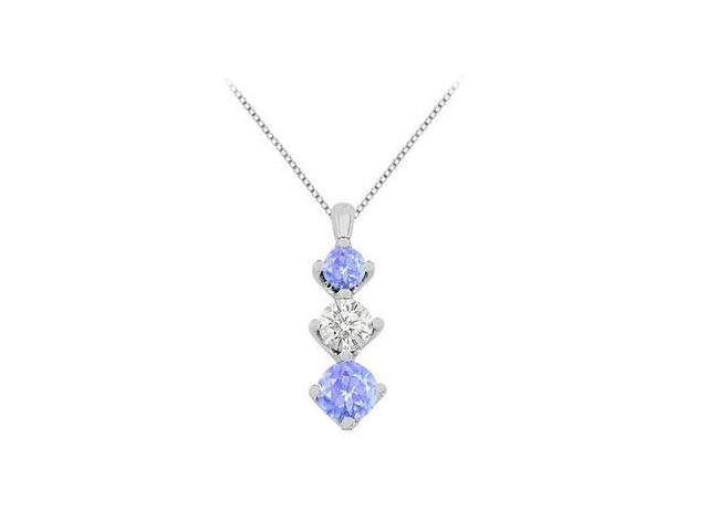 Pendant Created Tanzanite with White Cubic Zirconia in White Gold 14K Total Gem Weight of 1.90 C