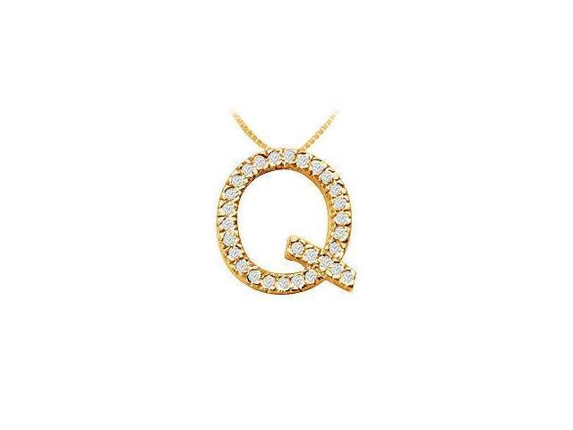 Classic Q Initial Diamond Pendant  14K Yellow Gold - 0.45 CT Diamonds
