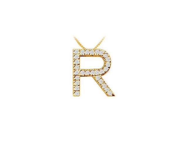 Classic R Initial Diamond Pendant  14K Yellow Gold - 0.45 CT Diamonds