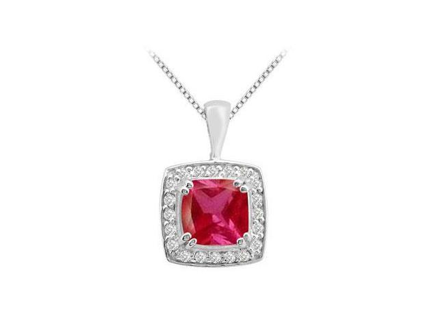 14k white gold pendant with cushion cut GF Bangkok Ruby and cubic zirconia 3.75 carat total gem
