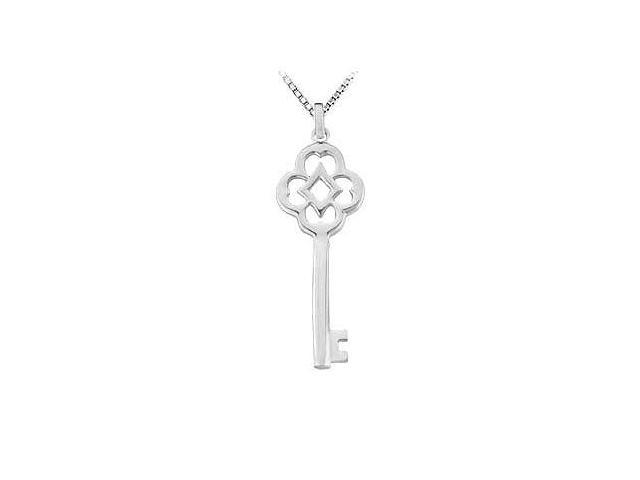 14K White Gold Key Pendant