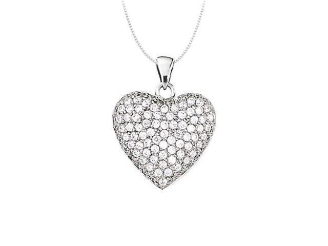 Classic April birthstone Diamond Heart Pendant in 14K White Gold 1.00 CT TDW