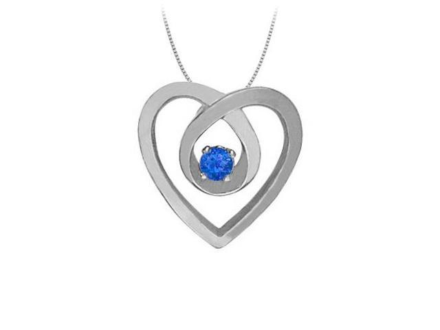 September Birthstone Sapphire Heart Pendant Necklace in 14kt White Gold 0.10 CT TGW