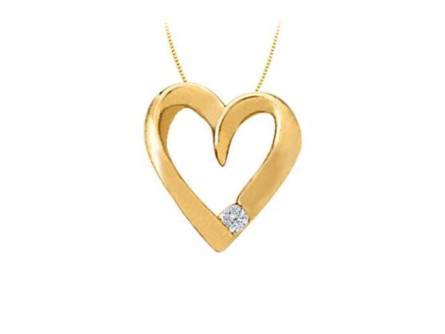 April birthstone Channel Set Diamond Heart Pendant in 14K Yellow Gold 0.03 CT TDW