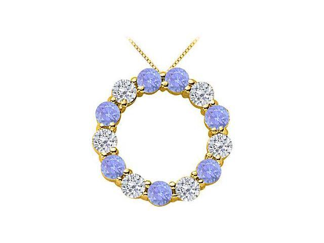 2 Carat Diamond and Tanzanite Eternity Circle Necklace in 14K Yellow Gold