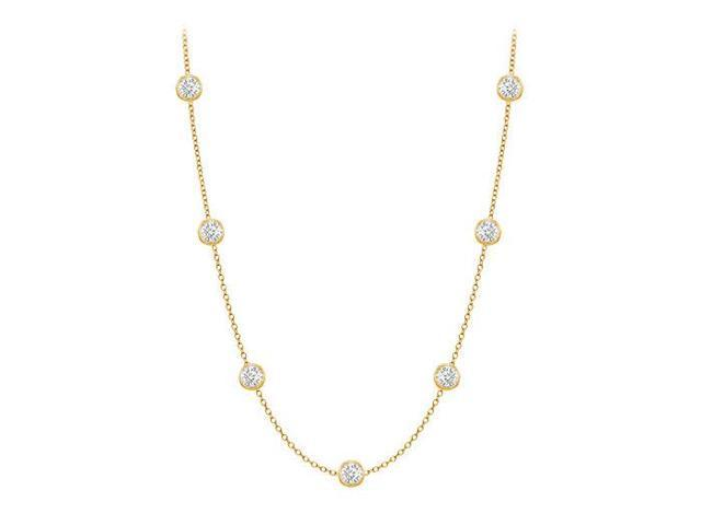 Diamonds By The Yard Necklace in 14K Yellow Gold Bezel Set 0.25 ct.tw