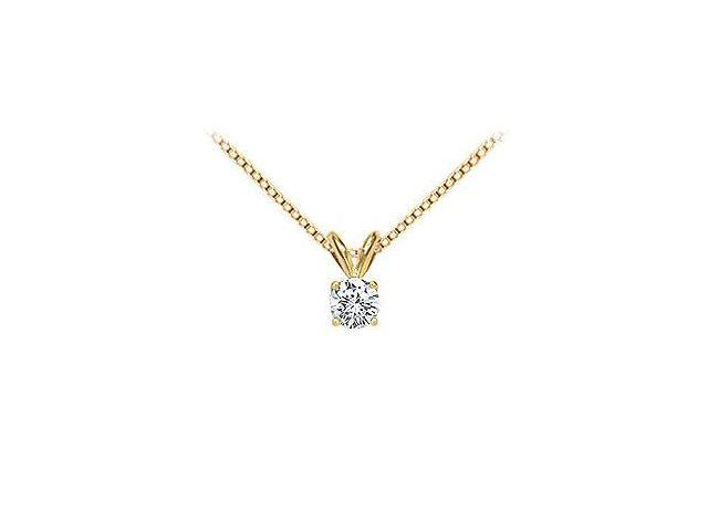 18K Yellow Gold  Prong Set Round Diamond Solitaire Pendant  0.25 CT. TDW.