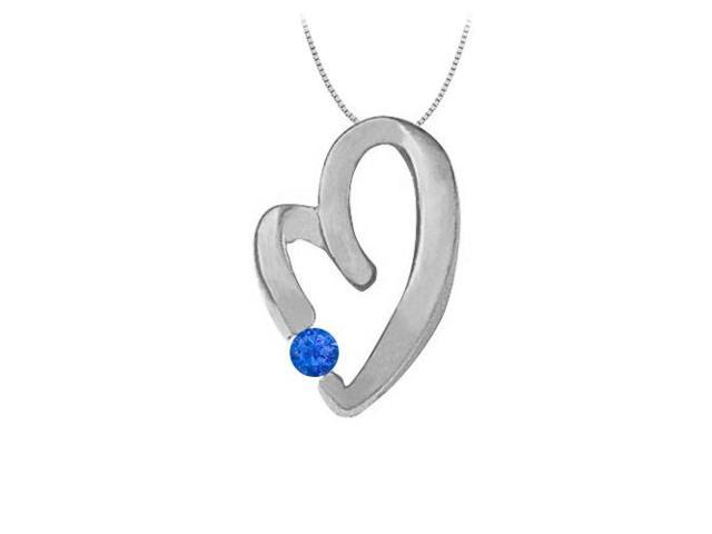 September Birthstone Sapphire Heart Pendant Necklace in 14kt White Gold  0.15 CT TGW.