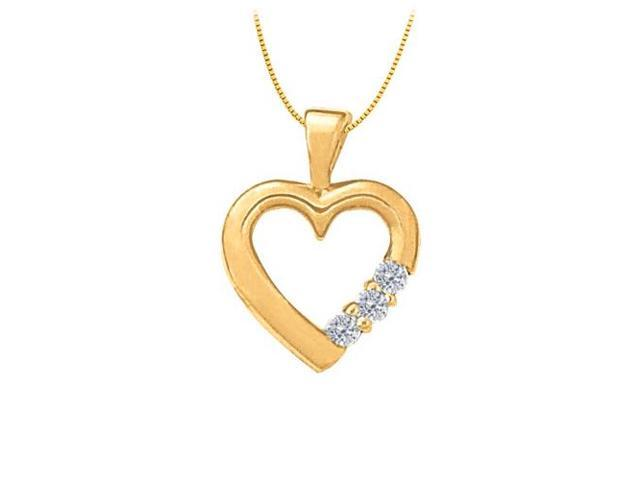 April birthstone Diamond Heart Pendant in 14K Yellow Gold 0.06 CT TDW